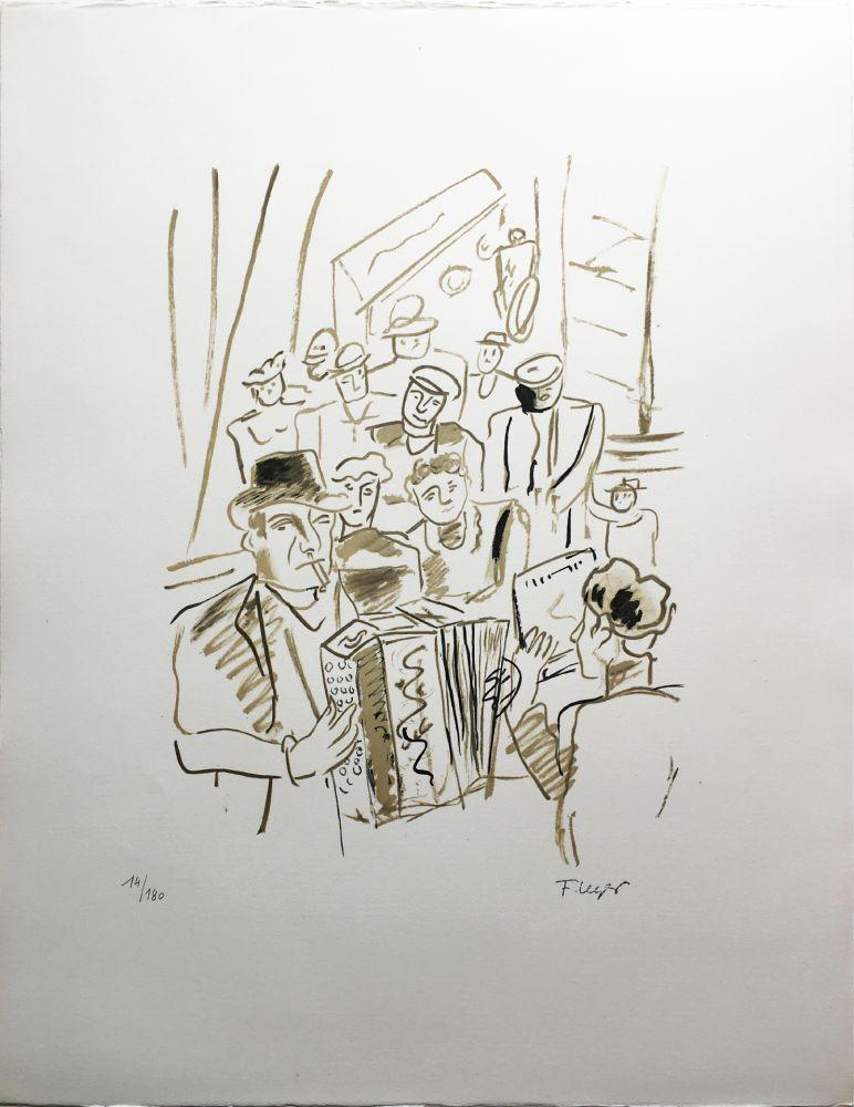 リトグラフ Leger - LE CAFÉ ou L'ACCORDÉONISTE (La Ville, Paris 1959)
