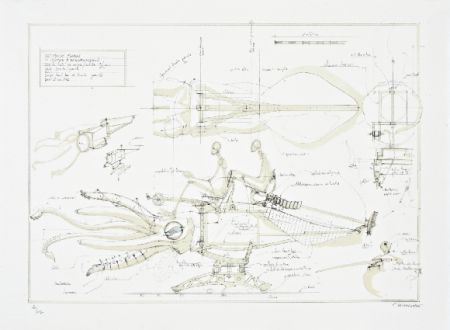 リトグラフ Delarozière - Le calamar a retropropulsion