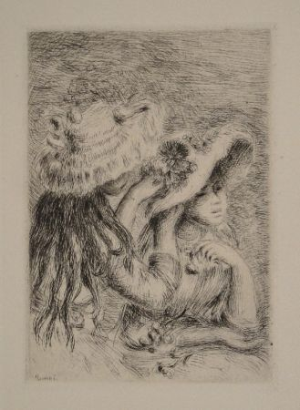 彫版 Renoir - Le Chapeau Épinglé. La Fille de Berthe Morisot et sa Cousine