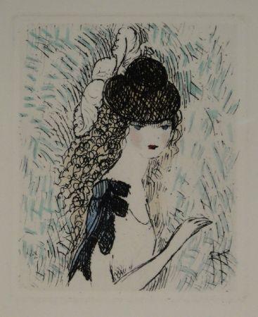 エッチングと アクチアント Laurencin - Le chapeau sur les yeux