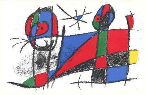 リトグラフ Miró - Le chat heureux / The Happy Cat