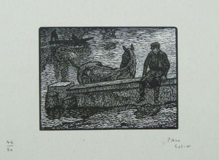 木版 Colin - Le cheval au bain