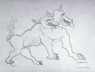 リトグラフ Zadkine - Le chien de Gerion (b)