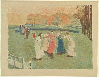 リトグラフ Lunois - Le colin-maillard (Blind Man's Bluff)