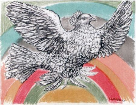 リトグラフ Picasso - Le Colomb Volant  - The Flying Dove With A Rainbow
