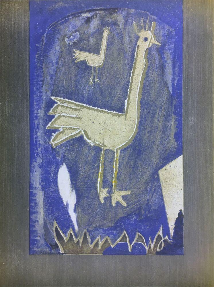 リトグラフ Braque - Le Coq (frontispice pour Verve n° 27/28 1953)