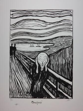 リトグラフ Munch - LE CRI / THE SCREAM / GESCHREI - 1895