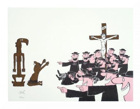 リトグラフ Siné - Le curé et l'animiste