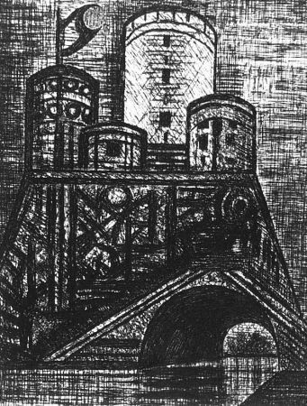 エッチング Gromaire - Le Donjon du Dunsinane