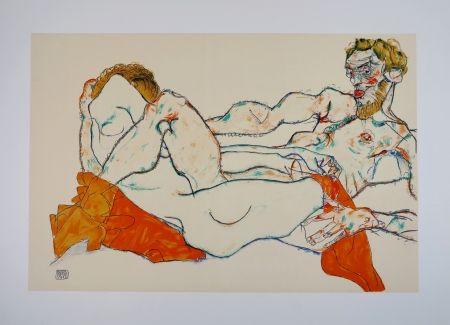 リトグラフ Schiele - LE DRAP ROUGE / THE RED SHEET - 1913