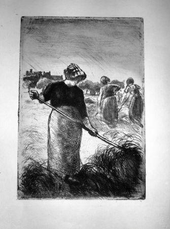 エッチング Pissarro - Le Faneuses