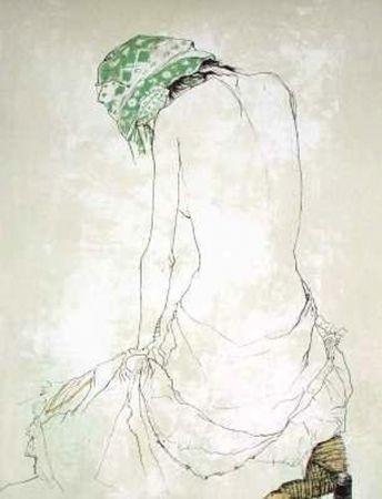 リトグラフ Jansem - Le Foulard Vert