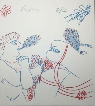 リトグラフ Fassianos - Le fumeur de cigarettes et le cheval