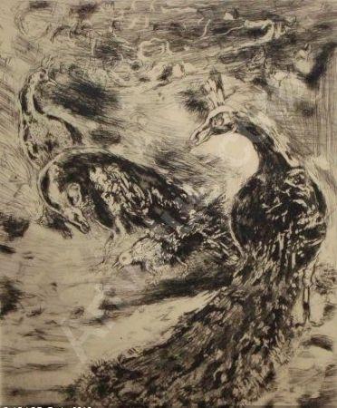 エッチングと アクチアント Chagall - Le Geai Pare des Plumes du Paon