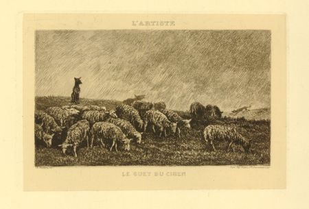 彫版 Daubigny - Le guet du chien