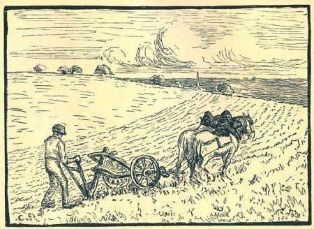 彫版 Pissarro - Le laboureur