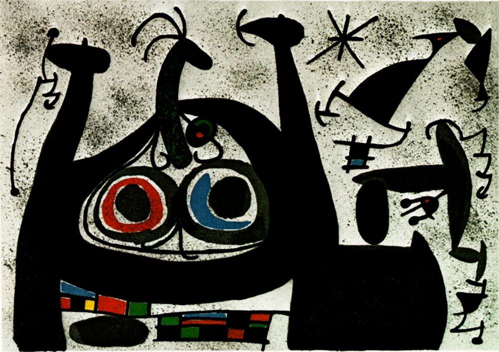 リトグラフ Miró -  Le Lezard aux plumes d'or - Arc-en-ciel  - (Maeght 818)