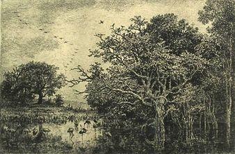 彫版 Daubigny - Le marais aux cigognes
