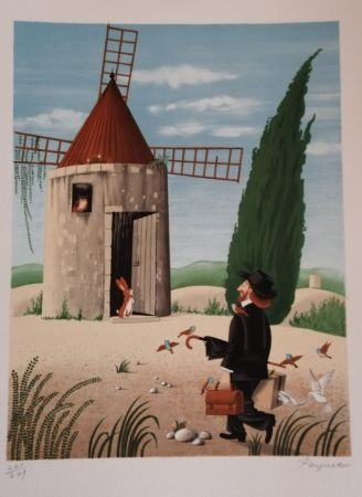リトグラフ Peynet - Le Moulin de Daudet
