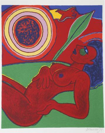リトグラフ Corneille - Le nu rouge en été