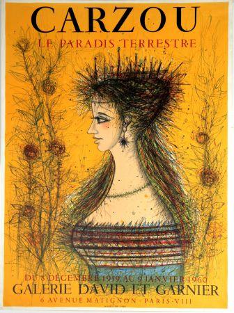 リトグラフ Carzou - Le Paradis Terrestre  Galerie David et Garnier