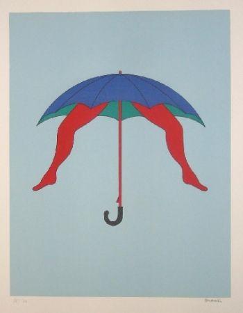 リトグラフ Marien - Le parapluie