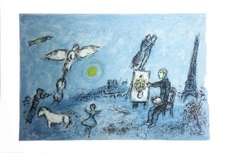 リトグラフ Chagall - LE PEINTRE ET SON DOUBLE (Épreuve à plat sur Arches). 1981.