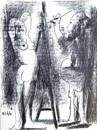 リトグラフ Picasso - Le Peintre et son modele