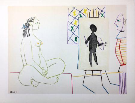 リトグラフ Picasso - Le peintre masqué et son modèle (La Comédie Humaine - Verve 29-30. Vallauris1954).