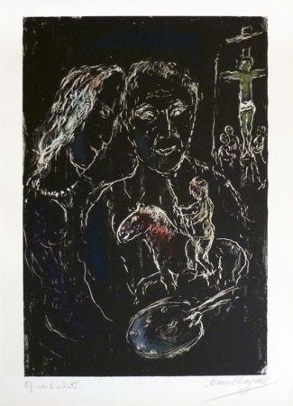 リトグラフ Chagall - Le peintre sur fond noir
