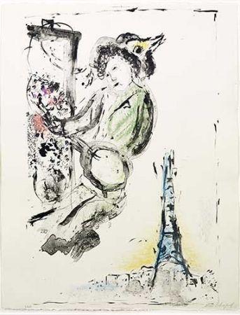 リトグラフ Chagall - Le peintre sur Paris
