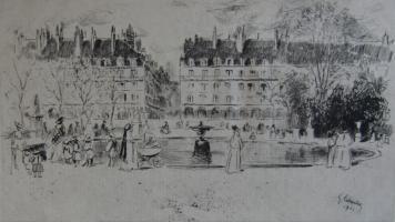 彫版 Leheutre - Le petit bassin des Tuileries
