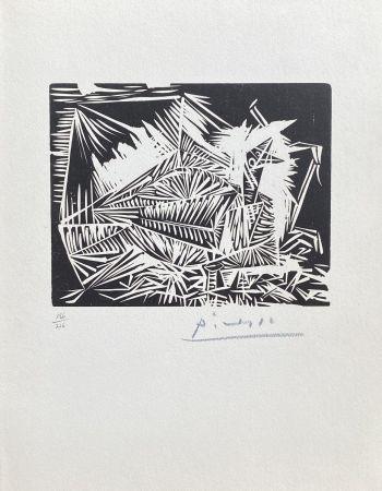 リノリウム彫版 Picasso - Le Pigeonneau