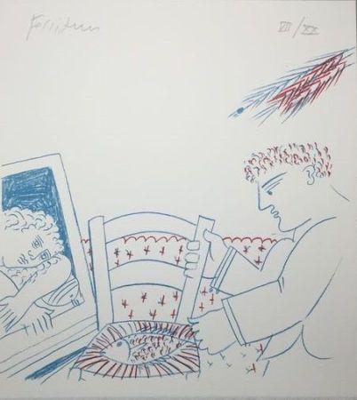 リトグラフ Fassianos - Le poisson sur la chaise