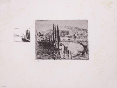 リトグラフ Pissarro - Le Pont Corneille