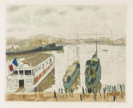 エッチングと アクチアント Marquet - Le Port de Marseille. 1923-1924.