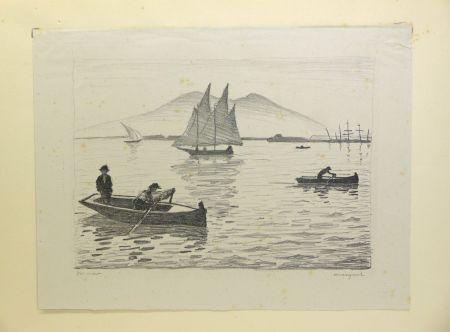 リトグラフ Marquet - Le Port de Naples, 1926. Signé et numérotée.
