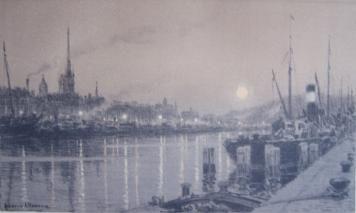 リトグラフ Alleaume - Le port de Rouen