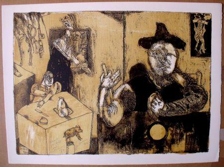 リトグラフ Cuevas - Le repas du magicien
