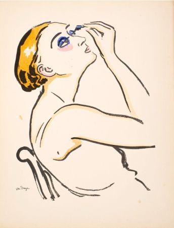 ステンシル Van Dongen - Le Rimmel, femme se maquillant.