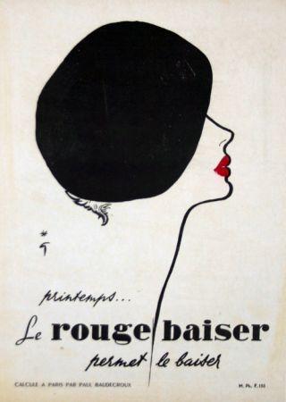 リトグラフ Gruau - Le Rouge  Baiser  Permet le Baiser
