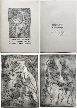 挿絵入り本 Masson - LE TEMPS RÉFLÉCHI. Poèmes de J.J Lévèque. 3 pointes-sèches sur celluloïd (PAB 1964).