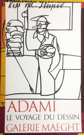 リトグラフ Adami - LE VOYAGE DU DESSIN. Adami 1975 (affiche originale).