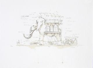 リトグラフ Delarozière - L'Elephant