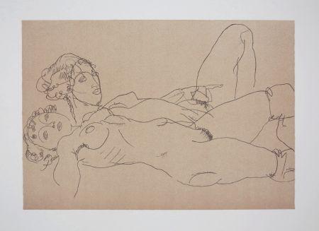 リトグラフ Schiele - LES 2 FILLES / TWO GIRLS - 1914
