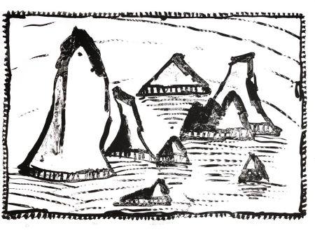 リトグラフ Alechinsky - Les Aiguilles de Belle-Ile, Ier état