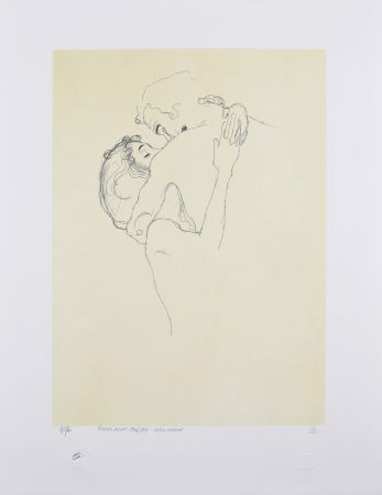 リトグラフ Klimt - LES AMOUREUX / LOVERS 1904-1905 / Upper bodies of an embracing couple