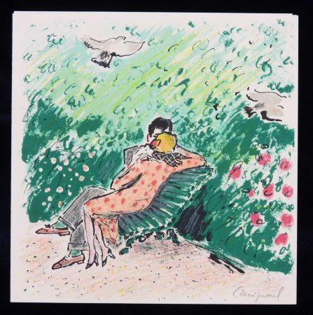 リトグラフ Cassigneul  - Les amoureux sur un banc