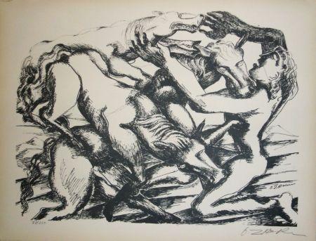 リトグラフ Zadkine - Les cavales de Diomède