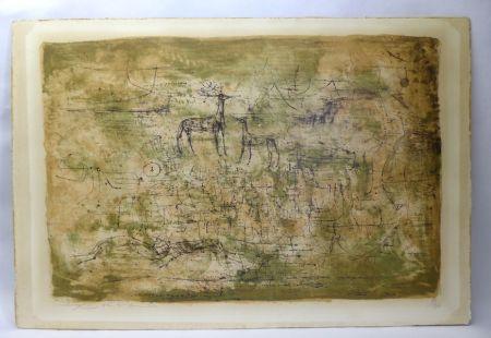 リトグラフ Zao - Les cerfs
